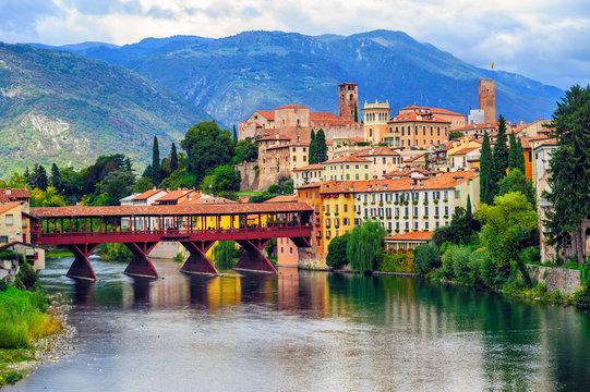 Bassano del Grappa Old Town and Ponte degli Alpini bridge, Italy