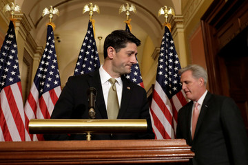House Speaker Paul Ryan and House Majority Leader Kevin McCarthy arrive at a news conference with Republican leaders