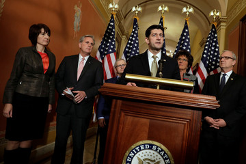 House Speaker Paul Ryan speaks at a news conference with Republican leaders