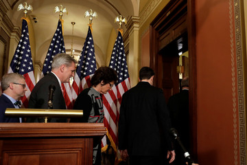 House Speaker Paul Ryan and Republican leaders leave after a news conference on Capitol Hill in Washington