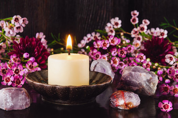 White Candle with Amethyst