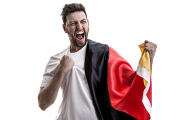 German athlete / fan celebrating on white background
