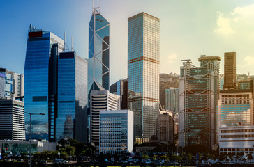 Wall Mural - hong kong city view with sunlight