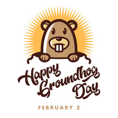Hapy Groundhog Day Illustration