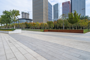 modern glass building exterior with empty pavement Wall mural