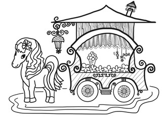 Balck hand drawn sketch of flower carriage with horse on white background, isolated transparent cartoon illustration painted by pen on paper canvas for greeting card or advertisement, high quality