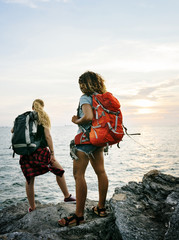 Young women traveling together