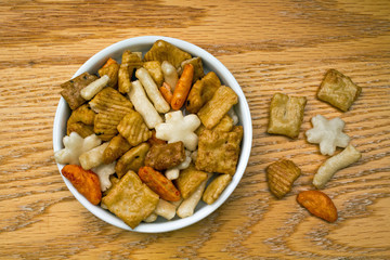Bowl of Spicy Seasoned Rice Crackers
