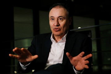 Alfonso Durazo, who will be appointed as Public Security Minister for the National Regeneration Movement (MORENA) gestures during an interview with Reuters in Mexico City