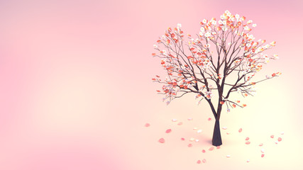 Wall Mural - 3d rendering picture of plum blossom and petals.