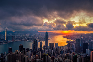 Fototapete - Hong Kong City skyline at sunrise. Hongkong skyscraper view from The peak