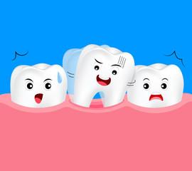 Baby tooth rocking. Dental care concept, illustration on blue background.