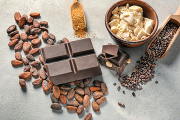 Composition with chocolate and cocoa products on table