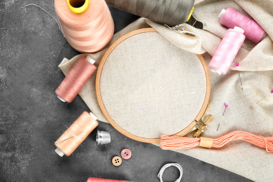Threads and other accessories for sewing and embroidery on table