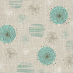 Linen textured weave with vintage flowers in a soft color palette of teal and bronze. Retro style inspired by mid-century modern fabrics.