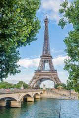 Eiffel Tower Framed by Trees Paris, France