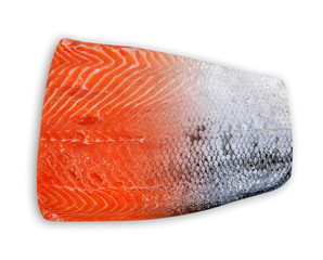 Fresh raw salmon fillet with skin isolated on a white background.