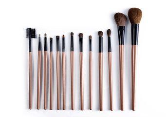 Professional makeup brush set on white background. Cosmetic equipment.