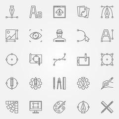 Graphic design icons set. Vector graphics symbols