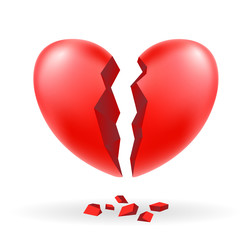 broken heart vector on a white background