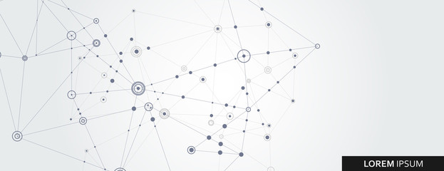 Vector connect lines and dots. Banner template for science and technology Wall mural