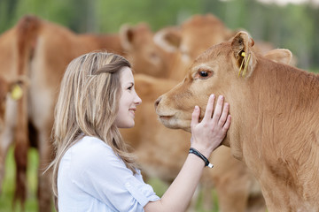 Side view of girl touching cow