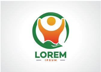 Human Safe Logo Template Design Vector, Emblem, Design Concept, Creative Symbol, Icon