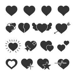 Vector image of set of hearts icons.