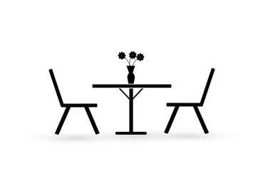 Design of a black flat icon of a street cafe is a table and two chairs, a vase of flowers. Love and romance.
