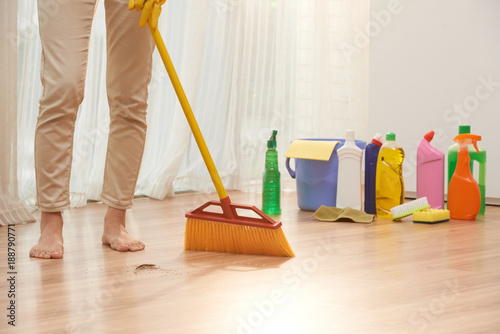 Sweeping Floor With Broom Stock Photo And Royalty Free Images On