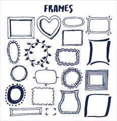 Set of Cute Hand Made Frames Vector Illustration