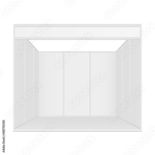 Standard exhibition booth system, blank mockup, front view  Trade
