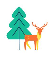 Deer Animal Icon, Horned Reindeer in Orange Color