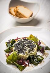 Close up vegan tartar vith algae and bread