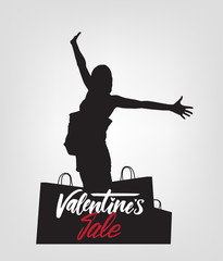 Happy Valentine's Day Sale. Vector silhouette with bags