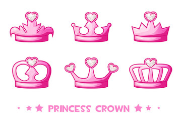 Vector cartoon pink crown de Princess, set icons. Cute vector illustration for girls