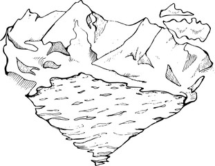 Illustration of mountains, lake and clouds in the form of a heart. Done in the style of minimalism.