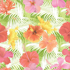 Tropical seamless pattern with hibiscus flower and palm leaf on green background. Vector set of exotic tropical garden for wedding invitations, greeting card and fashion design.