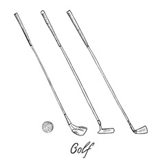 Different golf clubs putters (wood, putter, wedge) and ball, hand drawn doodle sketch with inscription, isolated vector outline illustration