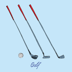 Different golf clubs putters (wood, putter, wedge) and ball, hand drawn doodle sketch with inscription, isolated vector outline illustration on blue background