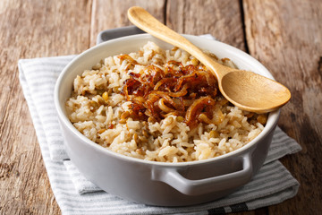 Vegetarian meal: Mujaddara rice with lentils and fried onions close-up in a bowl. horizontal