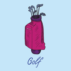 Pink golf bag with putters in it, hand drawn doodle sketch with inscription, isolated vector color illustration on blue background
