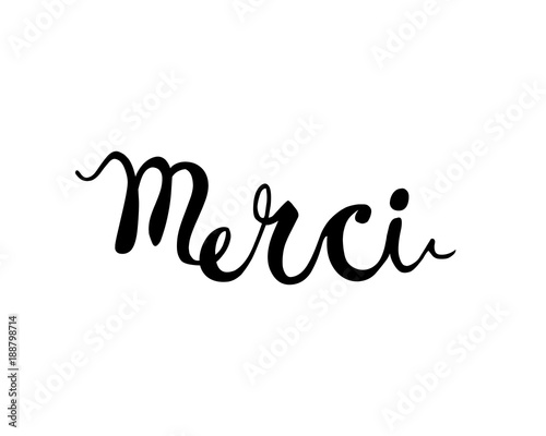 Inscription In French Thank You Merci Stock Image And