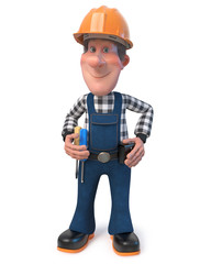 3d illustration Builder worker in overalls