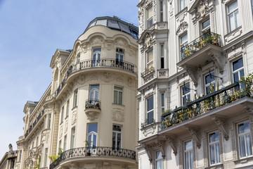 austria, vienna, art nouveau houses at the naschmarkt