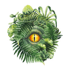 Watercolor dinosaur eye and prehistoric plants