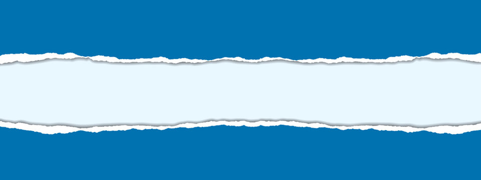 vector realistic illustration of blue torn paper with shadow