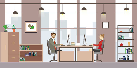 Caucasian Business people in modern office,Cartoon office manage