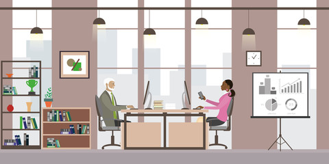 Business people in modern office,Cartoon office manager in the w