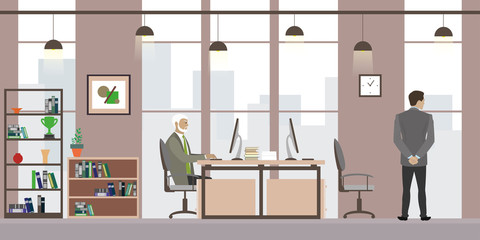 Cartoon businessmen in a trendy and modern office,flat interior